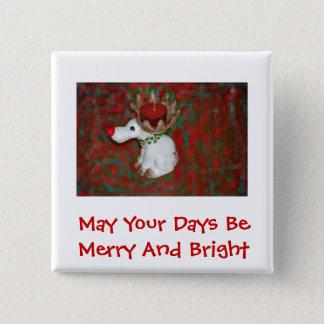 クリスマスの赤い鼻のトナカイのアメリカヘラジカ 5.1CM 正方形バッジ