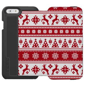クリスマスの赤と白アカシカおよび木パターン INCIPIO WATSON™ iPhone 6 ウォレットケース