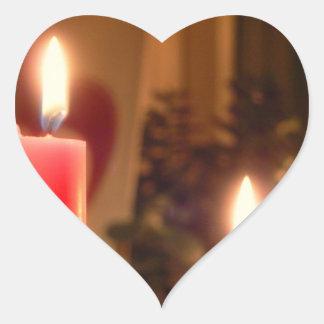 クリスマスの赤の蝋燭 ハートシール
