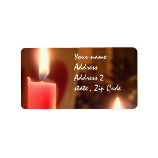 クリスマスの赤の蝋燭 ラベル
