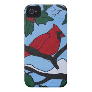 クリスマスの赤の(鳥)ショウジョウコウカンチョウ Case-Mate iPhone 4 ケース