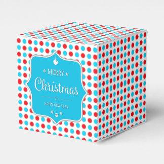 クリスマスの赤青い水玉模様のFvor箱 フェイバーボックス