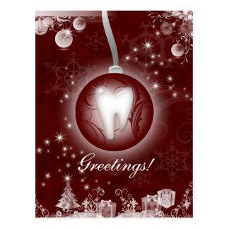 クリスマスの郵便はがきのバーガンディの歯科赤 ポストカード
