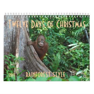 クリスマスの野性生物のスタイルの12日 カレンダー