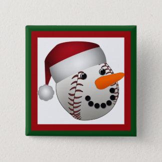 クリスマスの野球の雪だるま 5.1CM 正方形バッジ