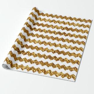 クリスマスの金ゴールドのグリッターによって印刷されるクールで白いシェブロン ラッピングペーパー