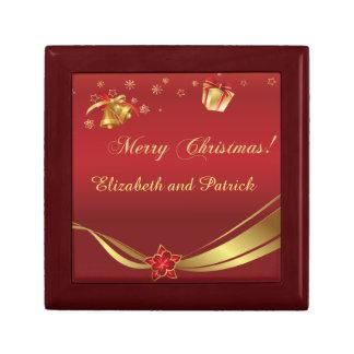 クリスマスの金ゴールドの赤いギフト用の箱 ギフトボックス