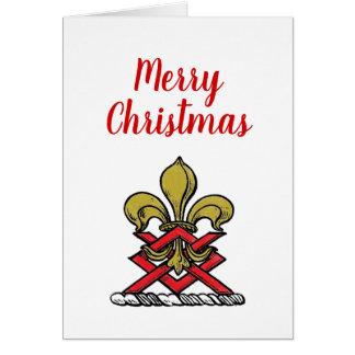 クリスマスの金ゴールドの赤いHeraldic頂上の(紋章の)フラ・ダ・リの紋章 カード