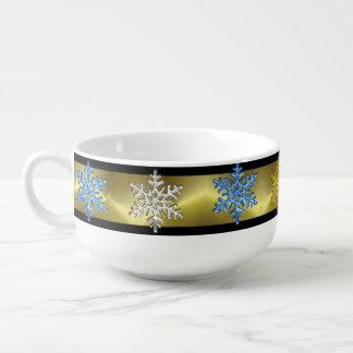 クリスマスの金ゴールドの黒の青い銀製の雪片ボール スープマグ