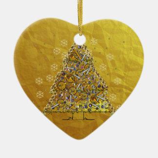 クリスマスの金属の木 セラミックオーナメント