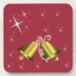 クリスマスの金鐘および星のコースター コースター