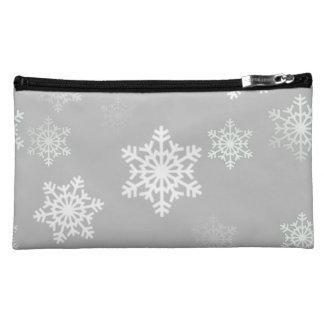 クリスマスの銀色の白い雪突風 コスメティックバッグ