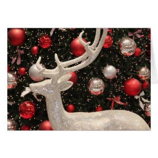 クリスマスの銀製のトナカイ カード