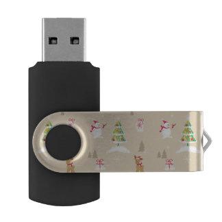 クリスマスの雪だるまおよびトナカイパターン USBフラッシュドライブ