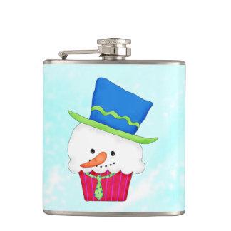 クリスマスの雪だるまのカップケーキのパーティの心に抱くこと フラスク