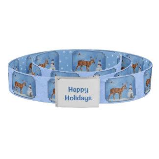 クリスマスの雪だるまのシカのかわいいバニーの青 ベルト