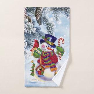 クリスマスの雪だるまの休日の浴室手タオル ハンドタオル