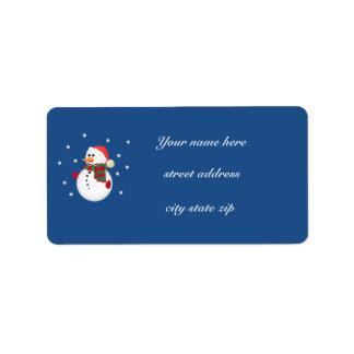 クリスマスの雪だるまの宛名ラベル ラベル