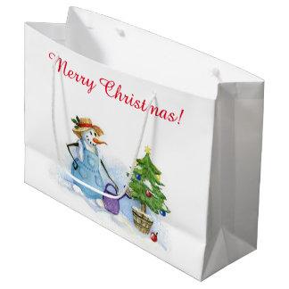 クリスマスの雪だるまの庭師の成長する木 ラージペーパーバッグ