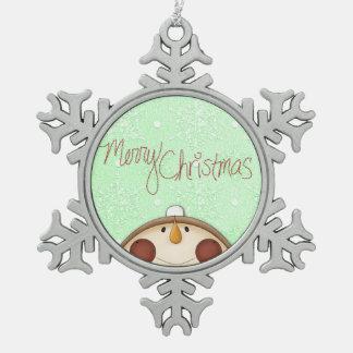 クリスマスの雪だるま スノーフレークピューターオーナメント