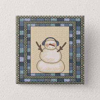 クリスマスの雪だるま 5.1CM 正方形バッジ