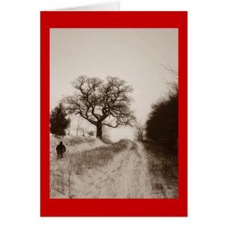 クリスマスの雪場面写真メッセージカード カード
