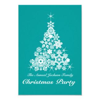クリスマスの雪片の木のパーティの招待状のティール(緑がかった色) カード