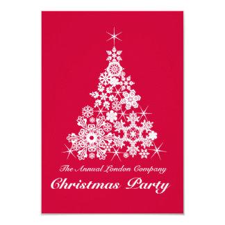 クリスマスの雪片の木のパーティの招待状の赤 カード