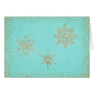 クリスマスの雪片の水及び金ゴールド カード