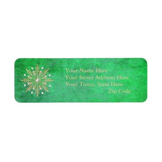 クリスマスの雪片の緑及び金ゴールド 返信用宛名ラベル