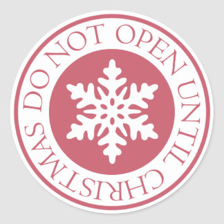 クリスマスの雪片の赤まで開けないで下さい ラウンドシール