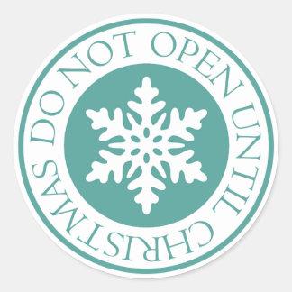 クリスマスの雪片の青緑まで開けないで下さい ラウンドシール
