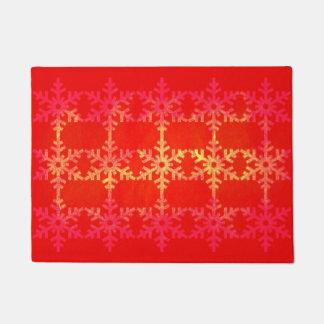 クリスマスの雪片パターン ドアマット