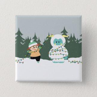 クリスマスの雪男 5.1CM 正方形バッジ