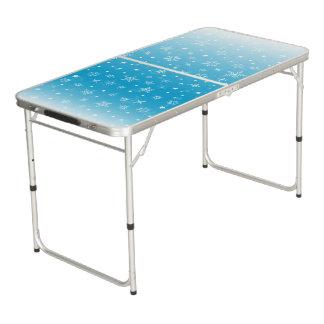 クリスマスの青いSnowy Pongのテーブル ビアポンテーブル