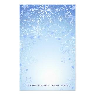 クリスマスの静止した青及び白い 便箋