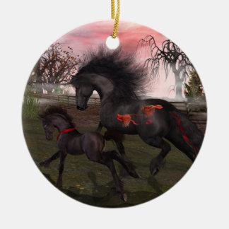 クリスマスの馬の円のオーナメント セラミックオーナメント