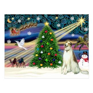 クリスマスの魔法のボルゾイ ポストカード