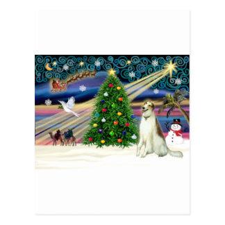 クリスマスの魔法ボルゾイ ポストカード