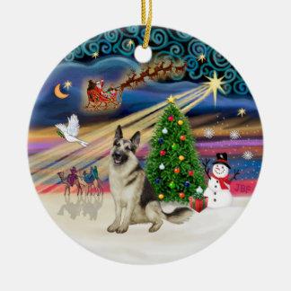 クリスマスの魔法-ジャーマン・シェパード9 セラミックオーナメント