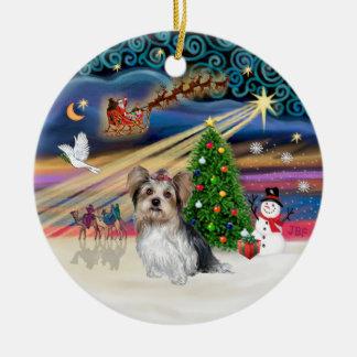 クリスマスの魔法-ヨークシャーテリア(Biewer) セラミックオーナメント