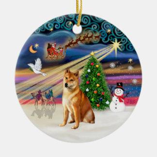 クリスマスの魔法-柴犬7 セラミックオーナメント