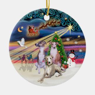クリスマスの魔法- 3 Whippets セラミックオーナメント
