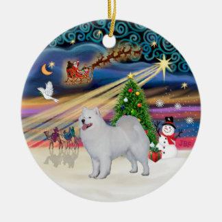 クリスマスの魔法- Samoyed (立場) セラミックオーナメント