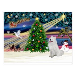 クリスマスの魔法Samoyed ポストカード
