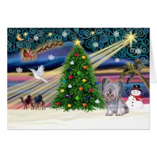 クリスマスの魔法Skyeテリア(銀) グリーティングカード
