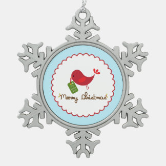 クリスマスの鳥のオーナメント スノーフレークピューターオーナメント