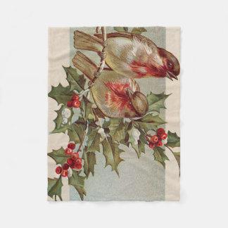 クリスマスの鳥の鳴き鳥のヒイラギの雪 フリースブランケット