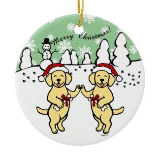 クリスマスの黄色いLabradorsの漫画 クリスマスオーナメント