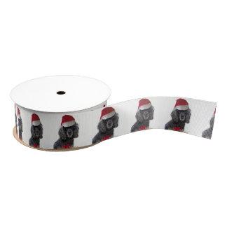 """クリスマスの黒いプードル犬1.5""""サテンリボン グログランリボン"""